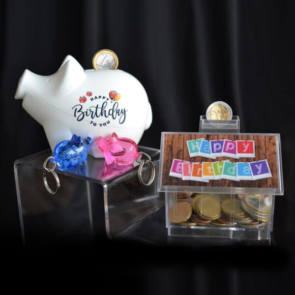 Birthday Money Box and keychains - wrapping for moneygifts
