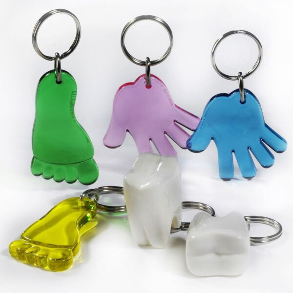 Body keychains package - foot - hand - tooth