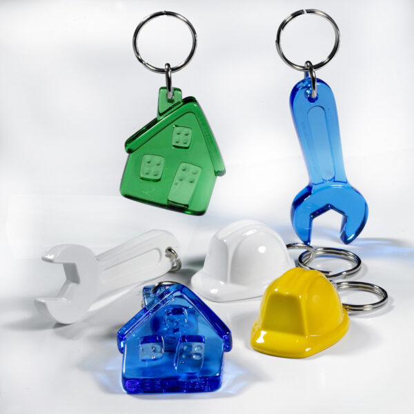Construction and Building keychains package - house - helmet - wrench