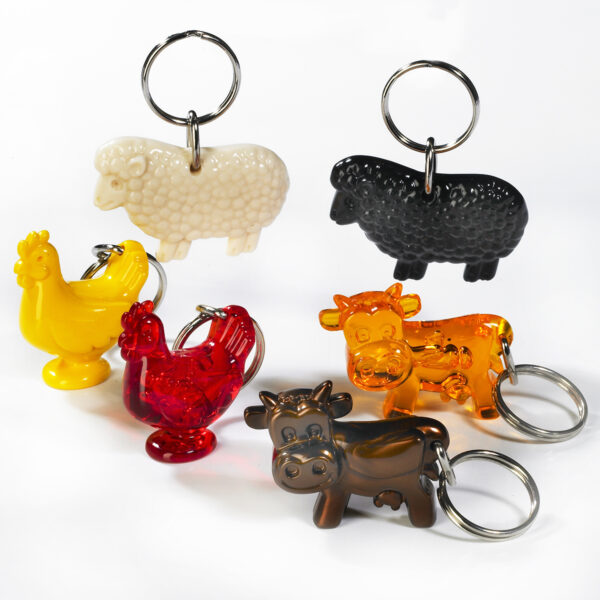 Farm Animals keychains package - lamb - cow - chicken