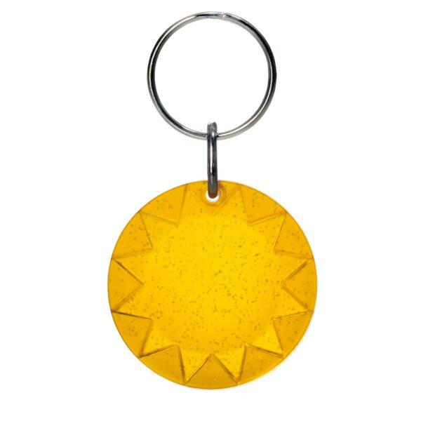 Sun keychain orange transparent with glitter