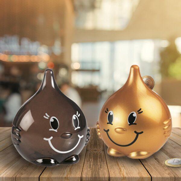 Drop Moneybox set - coffee transparent and gold drop