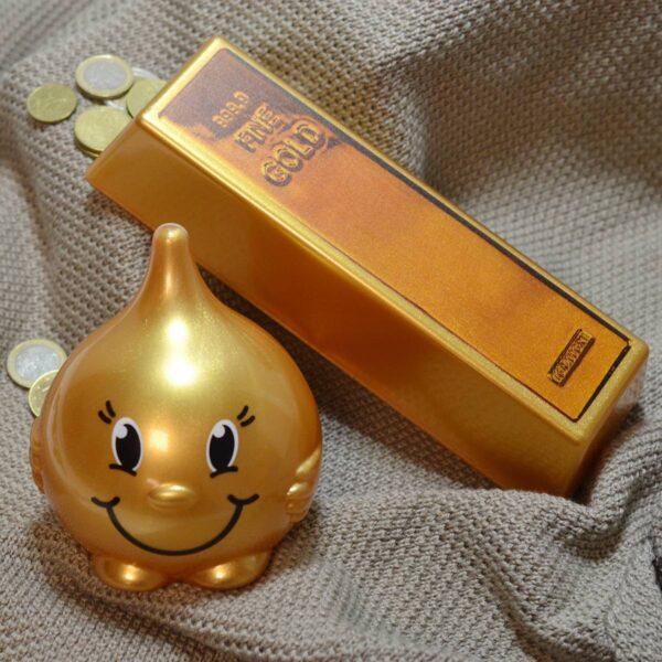 Moneybox set - gold drop and gold bar